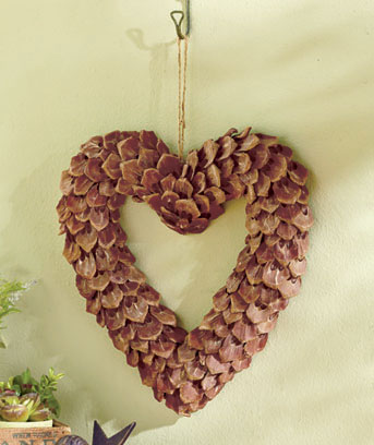 Natural Pinecone Heart Wreath