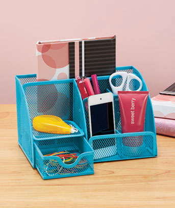 Bright Mesh Office Supply Organizers