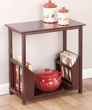 Wooden End Table with Double Magazine Rack - Walnut