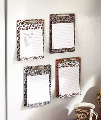 Animal Prints Set of 4 Magnetic Clipboard & Notepad