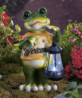 Frog Welcome Statue with Solar Lantern