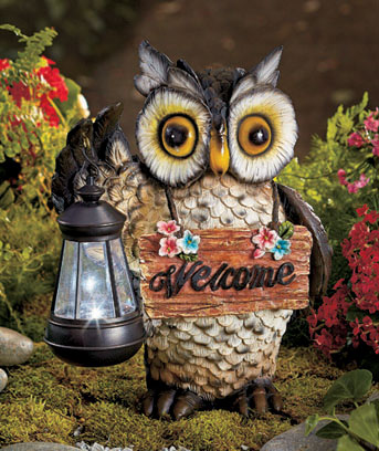 Owl Welcome Statue with Solar Lantern