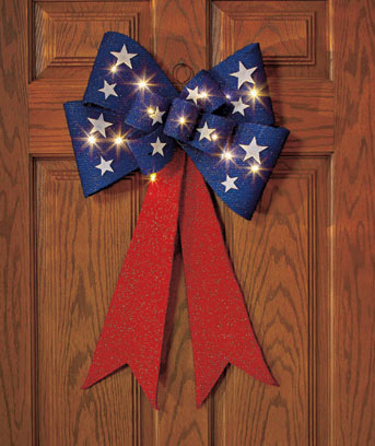 "28"" Lighted Patriotic Bow"