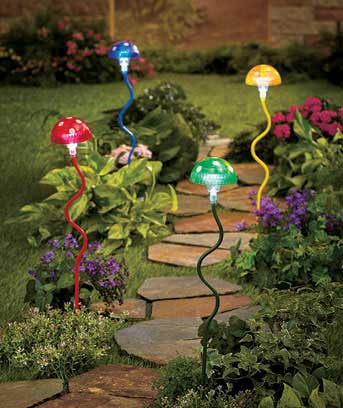 Sets of 2 Solar Lighted Mushroom Stakes