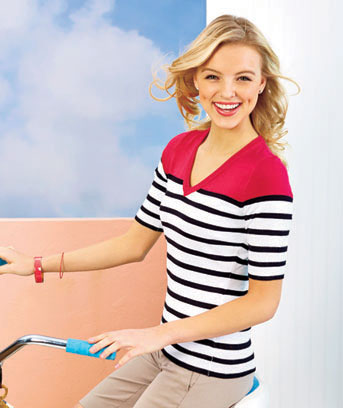 Women's Striped V-Neck Sweaters