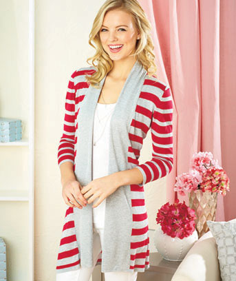 Women's Striped Open Cardigans
