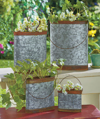 Set of 4 Galvanized Metal Containers