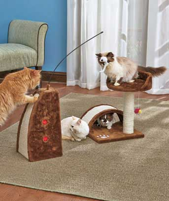 Perch, Scratch, Hide and Play Cat Gyms