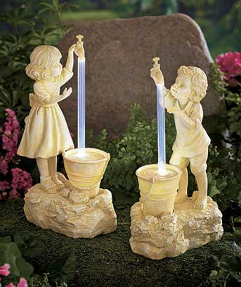 Kids with Solar Lighted Water Fountain