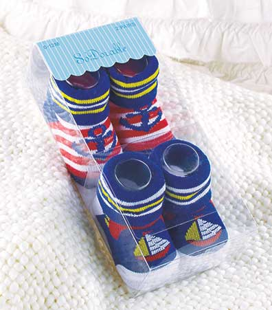 2-Pair Novelty Baby Bootie Socks