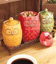 Owl Countertop Collection - 4-Pc. Canisters and Tray Set