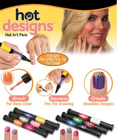 Sets of 3 Hot Designs(TM) Nail Art Pens