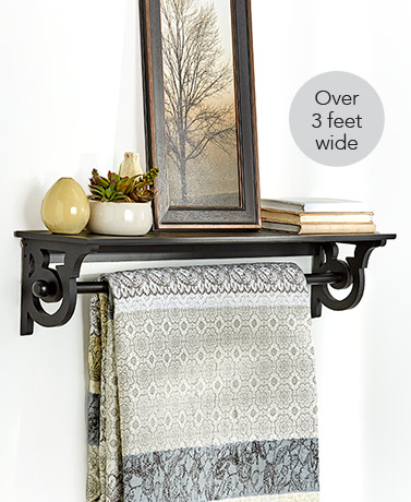 Wall-Mounted Quilt Rack with Shelf