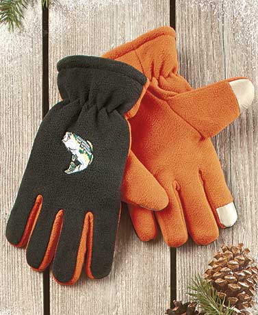 Sherpa-Lined Text Touch Gloves
