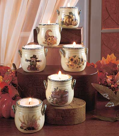 Set of 6 Harvest Tea Light Crocks