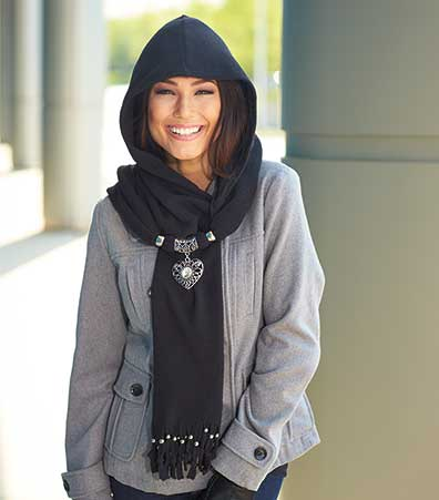 Hooded Scarf with Pendant