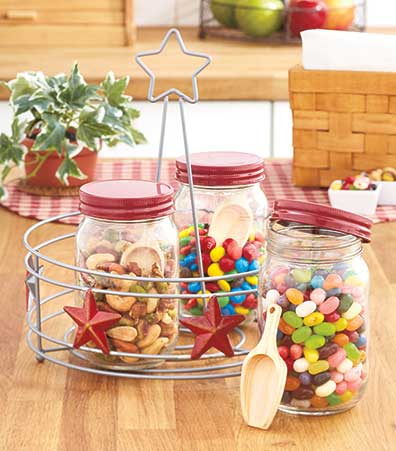 Set of 3 Snack Jars with Serving Tray