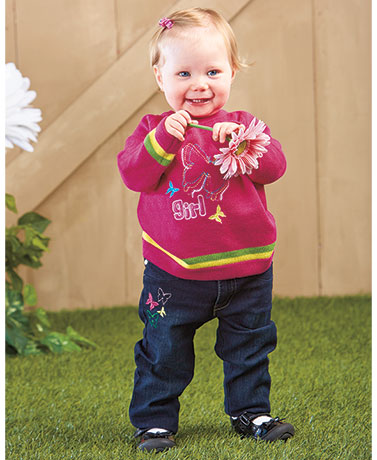 2-Pc. Baby Embroidered Sweater & Jean Sets