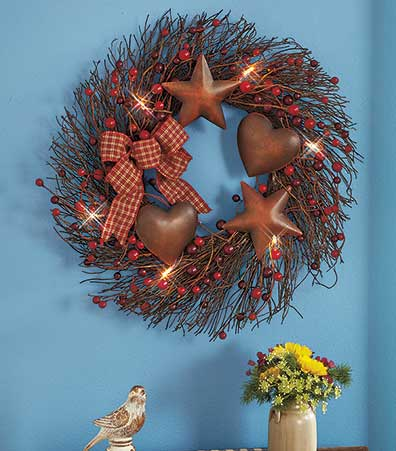 Lighted Country Wreath or Spray