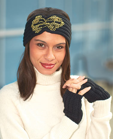 Beaded Knit Headwrap & Glove Sets