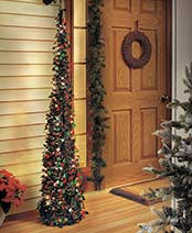 "65"" Lighted Christmas Trees - Green/Red"