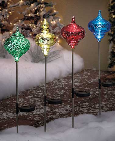 Solar Lighted Ornament Stakes