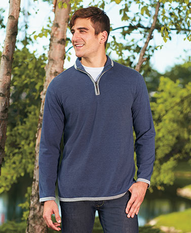 Men's Zip Neck Knit Pullover Shirts