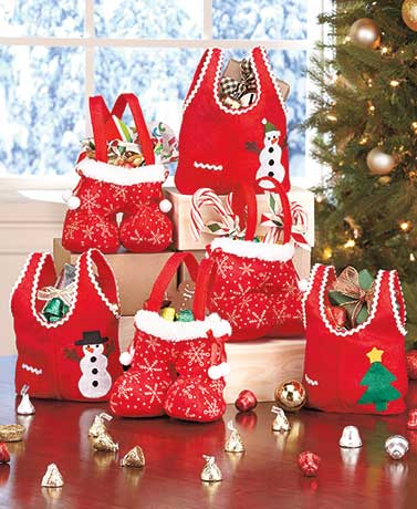 Set of 6 Embellished Holiday Treat Bags