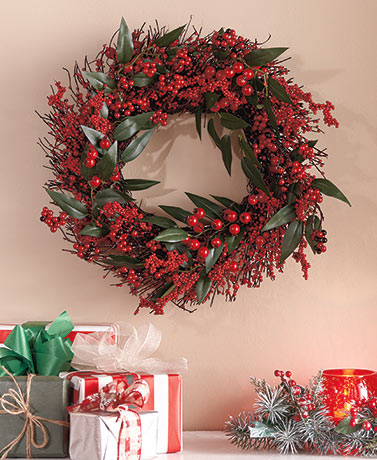 Festive Red Berry Wreath or Spray