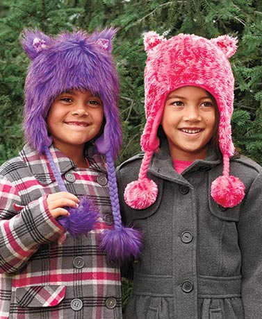 Girls' Plush Hats with Sequin Ears