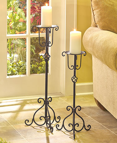 Sets of 2 Iron Candle Stands