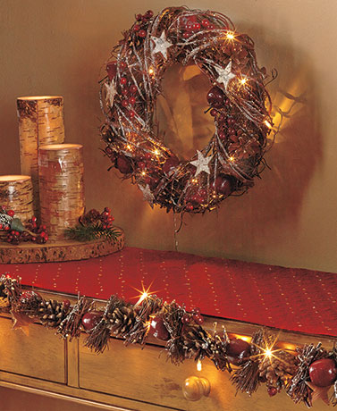 Lighted Country Star Wreath or Garland