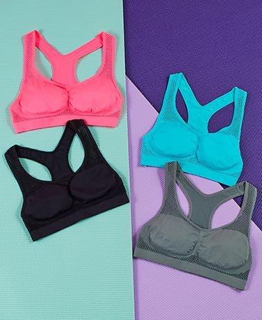 Sets of 2 Mesh Accent Seamless Bras