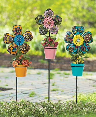 Colorful Flower Planter Stakes