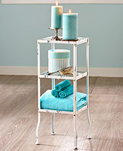 Vintage Bathroom Collection - 3-Tier Metal and Glass Stand