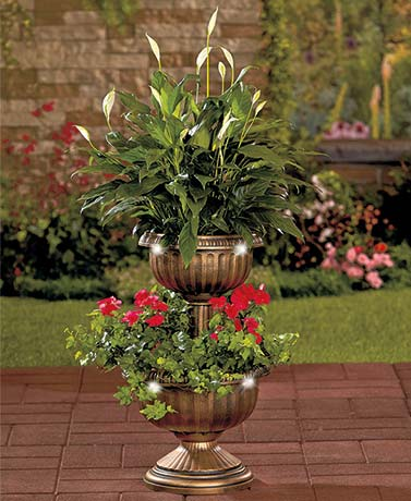 Solar Lighted 2-Tier Planters