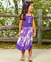 Girls' Tie-Dye Dresses with Ruffle Trim