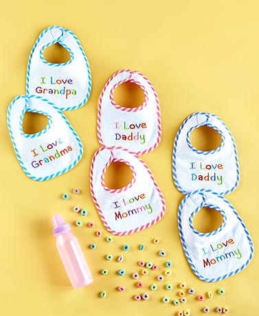"Sets of 2 ""I Love"" Embroidered Bibs"