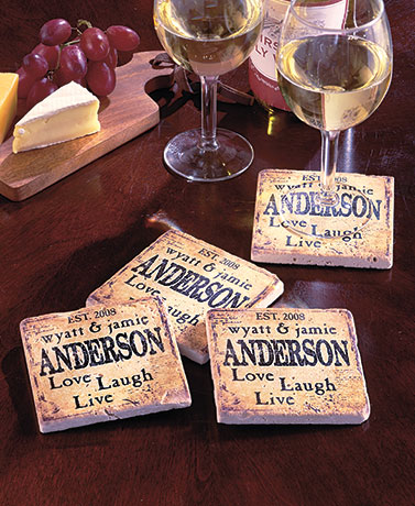 Sets of 4 Personalized Marble Coasters