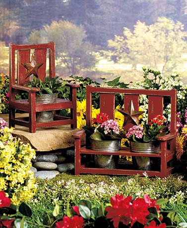 Rustic Chair or Bench Planters