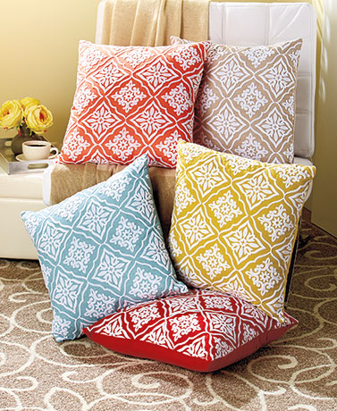 "18"" Embroidered Mosaic Pillows"