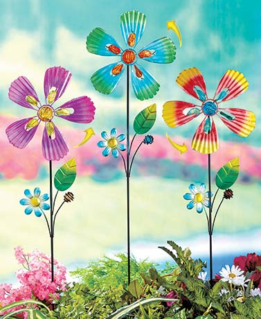 Metal Flower Spinner Stakes