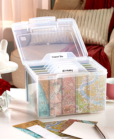Greeting Card Organizer Box with Dividers