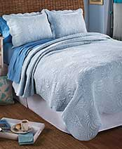 Coastal-Quilted Bedding Sets - 3-Pc. Light Blue Full/Queen Quilt & Sham Set