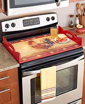 Decorative Wooden Stove Top Covers - Rooster