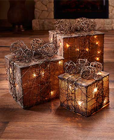 Set of 3 Natural Lighted Gift Box Decor