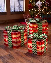 Sets of 3 Lighted Gift Box Decor - Red & Green