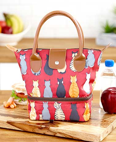 Cat Dual-Compartment Insulated Lunch Tote