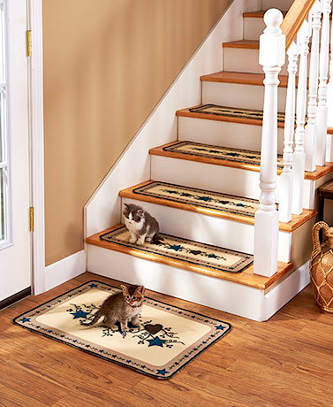 Set of 4 Country Star Stair Treads or Landing Rugs
