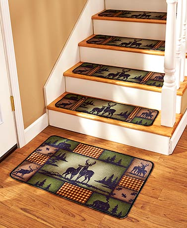 Set of 4 Lodge Deer Stair Treads or Landing Rugs